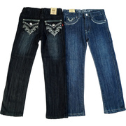 Cute Tween Girl Jeans with Embellished Back Pockets with Rhinestones and Blue Grey Thr