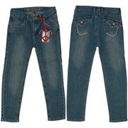 Girls Skinny Jeans by Pop Jeans - Girls Denim Jeans Size 4-6X with Adjustable Waist, Delicate Rhinestones with Light Stitching on Pockets and Copper Flower Buttons.  Available in Sizes 4, 5, 6, and 6X.
