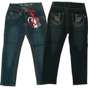Girls Skinny Jeans Sizes 4-6X with Western Style Threading, Brass Studs, Brown Rhinestones on Back Pockets and Stylized Embroidery, Adjustable Waist.  Very Cute!    Available in Sizes 4, 5, 6, and 6X by Pop Jeans