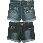 Great Tween Girl Denim Shorts with Turned up Cuffs, Rhinestones, Studs and Colored Threading on Pockets  Available in Sizes 7, 8, 10, 12 and 14 in Denim and Dark Denim by Pop Jeans.  *See also in Toddler and Young Girl (4-6X)