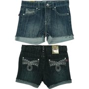 Cute Girls Denim Shorts with Turned up Cuffs, Rhinestones, Studs and Colored Threading on Pockets along with an Adjustable Waist.  Available in Sizes 4, 5, 6 and 6X in Denim and Dark Denim by Pop Jeans.  *See also in Toddler and Tween (7-14)