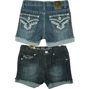 Blinged Girls Denim Shorts with Turned up Cuffs, Rhinestones, Studs and Colored Threading on Pockets along with an Adjustable Waist.  Available in Sizes 4, 5, 6 and 6X in Denim and Dark Denim by Pop Jeans.  *See also in Toddler and Tween Girl 7-14