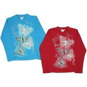 Girls Tops with Vibrant Butterfly Screen LS Shirt with Red Rhinestone Embellishment On Silver Butterflies or Pink Rhinestones on Silver Butterflies.  Super Soft!  Available in Blue and Red sizes 7/8, 10/12 and 14/16 by Pop Jeans. See also in 4-6X