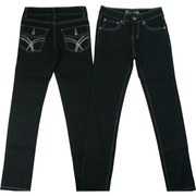 Girls Jeans Sizes 6-16 with Rhinestone Studded Back Pockets and Silver Threading Against Dark Stretch Denim.  Stylish!  Skinny Jeans Available in Sizes 6, 7, 8, 10, 12, 4 and 16 by Quality Apparel