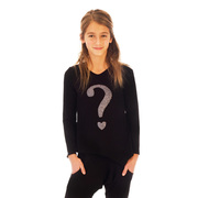 Cute tween top in black with a silver sequin-look question mark transfer in soft cotton!  Princess seams give shape, black front, black and white striped back. Available in size 7/8, 10/12 by Limeapple