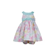 Sweet Bonnie Baby dress in pretty pastel butterflies with mint green trim, fully lined and comes with bloomer. Accent bow and ribbon and Zips and ties at back. Too cute!  Available in sizes 12, 18 and 24 months