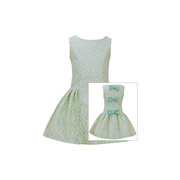 This cute Bonnie Jean dress is a sleeveless brocade with a drop waist and front and back seams with accenting bows that snap to one side of the back zipper.  Fully lined. The color is an aqua on creme. So Sweet!  Available in Sizes 4, 5, 6 and 6X