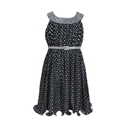 This adorable Bonnie Jean dress is a chiffon sleeveless black dress with a sequined u neck and an ivory polka dot that looks grey against the black slip dress underneath. Comes with a silver sparkly belt at the high elastic waist.  Cute!  Available in sizes 7, 8, 10, 12, 14 and 16