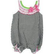 Baby Girl Seersucker Romper in Black and White Check by Rare Editions, Adorable Romper in Black and White Mini-Check with White Ruffles Trimmed in Hot Pink Adorned with Ribbons and Daisies with Center Rhinestone.  Neckline Turns into Buttoned Tabs in Back.  Bum has Two Appliqued Strawberries with Rhinestones.  Too Cute!  Available in Sizes 3, 6 and 9 months