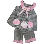 This great birthday outfit consists of a black and white check seersucker  top extensively decorated with cupcake appliques, pink plaid ruffle trim and pink bows, rosettes and sequins together with matching capris.  Fun!  Available in sizes 6 and 9 months by Rare Editions