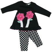 Baby Girl Polka Dot Legging Set by Rare Editions with Black Top with 3D Flowers with Rhinestone Centers and Ribbon Stems. Hem is Trimmed in Hot Pink.  Pull-on Black and White Polka Dot Leggings.  Adorable!  Available in Sizes 3, 6, and 9 Months