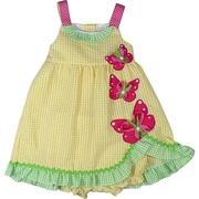 Adorable Infant Girl Dress Set in Yellow Seersucker with Pink Appliquéd Butterflies with Ribbon Embellishments and Green Plaid Trim.  Matching Yellow Panty. So Cute! Available in Sizes 12, 18 and 24 Months.  See Sister Dress in Toddler Girl (No Panty)