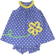 Sweet Baby Girl Dress Set by Rare Editions in Periwinkle Polka Dots with Yellow Trim and Flower with Giant Button Center. Matching Bloomer.  Adorable!  Available in Sizes 12, 18 and 24 Months