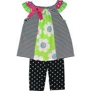 Vibrant Baby Girl Legging Set with Black and White Striped Top with Lime Green Insert Trimmed in Hot Pink and Lime Together with Black and White Polka Dot Leggings. Available in Sizes 12, 18 and 24 Months