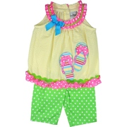 Bright Baby Girl Top and Pant Set with Yellow Seersucker Top with Neon Pink Polka Dot Trim and Flip Flop Appliques Paired  with Lime Green Polka Dot Pants.  Available in 12, 18 and 24 Months