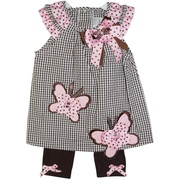 This adorable Rare Editions dress set includes a brown and white check seersucker dress with extensive pink and brown ribbon trims, including butterflies and bows with pink rhinestones. The set includes brown leggings with pink and brown accent bows.  So cute!  Available in size 18 months