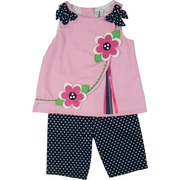 Infant Girl Clothes - Adorable Infant Girl Capri Set with Pink Pique Lined Top with Daisy Appliques, Navy Polka Dot Bow at Shoulders and Cute Side Split Swoop with Ribbon Accent.  Matching Cotton Navy Polka Dot Capri.  Very Sweet!  Available in Sizes 12, 18 and 24 Months. By Rare Editions