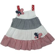 Cute 4th of July Dress Set for Baby Girls with Tiered Red, White and Blue Seersucker Dress with Patriotic Butterfly Appliques, Red and White Ribbon Applied to Straps and Button Closure at Back. White Panty. Very Cute!  Available in Sizes 3, 6, and 9 Months.   See Matching Sister Dresses in Sizes 4-6X