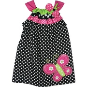Adorable Black and White Polka Dot Dress with Ribbon Trim at Neckline in Hot Pink , Lime and Black & White and Huge Butterfly Applique at Hem.  Very Cute!  Available in Sizes 4, 5, 6 and 6X (see sister dress in Toddler Girl)