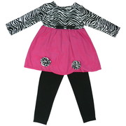 Adorable Zebra Print Girls Legging Set with Fuchsia Corduroy Dress with Zebra Print Bodice and Rosettes and Black Leggings. So Cute!  Available in Sizes 5, 6