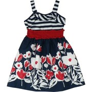 French inspired ? We think so. Cute dress with navy and white striped bodice, red elastic waist and cotton skirt with red and white flowers on a navy background. Tres Chic!  Great for the 4th of July.  Available in sizes 7, 8, 10, 12, 14 and 16 by Rare Editions