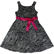 Adorable Zebra Print Dress with Bright Fuchsia Bow. Zips at Back. Bring Something Wild to the Party!  Available to Sizes 7, 8, 10, 12, 14 and 16 by Rare Editions