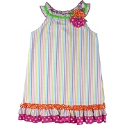 Colorful Seersucker Dress in a Rainbow of Colors with Lime, Orange and Hot Pink Trims and a 3D Flower with Large Rhinestone Button.  Bring on the Sun!  Available in Sizes 2T, 3T, 4T  by Rare Editions
