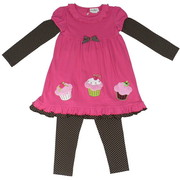 Cute Birthday Girl Legging set with Fuchsia Dress with Brown & White Polka Dot Sleeves, Bow and Trim and Fluffy Appliqued Cupcakes Together with Matching Polka Dot Leggings.  Sweet!  Available in Sizes 6 and 6X by Rare Editions