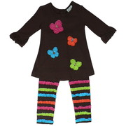 Colorful Girls Legging Set in Brown with Rosette Butterflies with Rhinestone Centers Together with Brown Leggings with Colored Ruffle Stripes.  Very Cute!  Available in Sizes 4 and 6