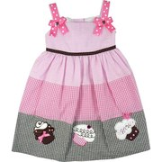 Girls Summer Dresses - Sweet Girls Seersucker Dress in Pink and Brown with Pink Polka Dot Ribbon Trim on Straps with Front Bows and Yummy Cupcake Appliques. Ties at Back.  Great for Birthday Parties!  Available in Sizes 4, 5, 6 and 6X by Rare Editions. See Sister Dress in Toddler Girl.
