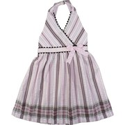 Girls Summer Dresses Sizes 4-6X by Rare Editions- Cute Seersucker Dress in Pink with Brown and White Stripes, Brown Rick-Rack Trim, Pink and white Polka Dot Ribbon, Halter Tie at Neck as well as Waist Tie at Back.   Bodice is Lined.  Sweet!  Available in Sizes 4, 5, 6 and 6X