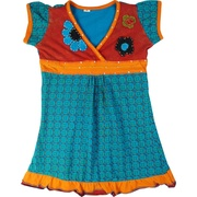 This adorable cotton dress has an empire waistline and v-neck trimmed in sequins, hand-sewn floral appliques and lots of bright colors!  Available in sizes 4, 6, 8 and 10 by Rising International