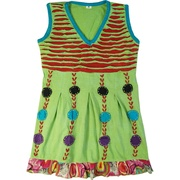 This cute dress has a cutout bodice with empire waist, pin tucks for pleating, hand-crafted designs and colorful hem.  Wear alone or pair with a top. Would look adorable with tights and boots, very versatile!  Available in sizes 4, 6, 8 and 10 by Rising International