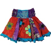 This colorful skirt is hand crafted with a high cut-out elastic back waistband, and flowing panels of colors and patterns with hand-sewn flowers.  Great for twirling!  NOTE: every skirt is individually made and unique so colors may be a different than shown, i.e. where purple could be green or pale yellow. Available in sizes 4, 6, 8 and 10 by Rising International