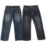 Boys five pocket jeans with colored threading on the back pockets. These are crinkle jeans and have a sheen to them. Pair them with one of our flannel shirts.  Available in sizes 2T, 3T and 4T