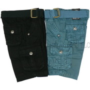 Boys Cargo Shorts with Adjustable Waist, Cotton Belt and Tons of Pockets in Sizes 4, 5, 6 and 7 in Black and Teal by Rebel Jeans.  See also Toddler Boy Sizes