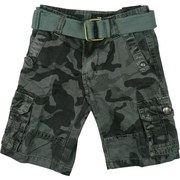 Boys Cargo Shorts in Camouflage Pattern with Adjustable Waist, Cotton Belt and Lots of Pockets!  Available in Dark Grey and Olive in Sizes 4, 5, 6 and 7 (Also available in Toddler Boy) by Rebel Jeans