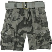 Boys Cargo Shorts in Camouflage Pattern with Adjustable Waist, Cotton Belt and Lots of Pockets!  Available in Dark Grey and Olive Green in Sizes 4, 5, 6 and 7 (Also available in Toddler Boy) by Rebel Jeans