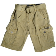 Toddler Boy Cargo Shorts with Lots of Pockets, Adjustable Waist and Cotton Belt.  Available in Black and Khaki in Sizes 2T, 3T and 4T