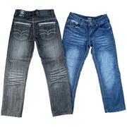 Boys Jeans by Rebel Jeans, Fashionable Tween Boy Jeans with  Stylized Back Pockets and Cool Crinkle Look!  These jeans have a sheen to them.  Available in Sizes 8, 10, 12, 14 and 16