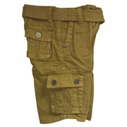 Boys Cargo Shorts with Lots of Pockets, Adjustable Waist and Cotton Belt.  Available in Olive and Tan in Sizes 4, 5, 6 and 7 (Also available in 2-4T)