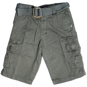 Boys Cargo Shorts with Lots of Pockets, Adjustable Waist and Cotton Belt.  Available in Olive and Khaki in Sizes 4, 5, 6 and 7