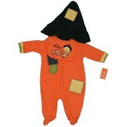 "Baby Costumes, 3 pc. Baby Halloween  Costume - Baby Coverall  made of 100% Cotton with Patches and ""Straw"" Felt trim.  Snap Closure, Appliqued and Embroidered Bib and Cotton Hat.  Available in sizes 0/3, 3/6, and 6/9 months by Babyworks"