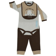 Baby Boy Clothes, Adorable Baby Boy 3 Piece Pant Set with Diamond Patterned LS Onesie with Two-Tone Sleeves, Pull on Chocolate Brown Waffle Weave Pants and Sweet Bib that says I Give Puppy Hugs. So Cute!  Available in Sizes 0/3, 3/6 and 6/9 Months.  by Rene Rofe