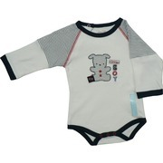 Baby Boy Onesies by Rene Rofe - Adorable Baby Boy Onesie with a Teddy in Navy Stripes and Red Stars and Little Boy Appliques.  Part of the Sleeves are Navy Stripes Making it Look Like a Double Shirt.  Snaps at Back and at Legs.  So Soft, So Cute!  Available in Sizes 0/3, 3/6 and 6/9 Months