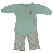 This Cute 3 Piece Pant Set Comes with a Mint Colored Pique Cotton Creeper with Ruffle Trim around Neckline and Cuffs, Flower Buttons and Sweet Bunny Applique.  Pull-on Pants have a Dainty Floral Pattern and Ruffled Bum. Includes a Pair of Pink Socks.  So Sweet!  Available in Sizes 0/3, 3/6 and 6/9 Months.  by Rene Rofe