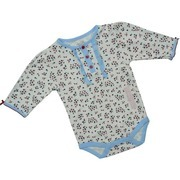 Baby Girl Clothes by Rene Rofe - Adorable L/S Bodysuit for Baby Girls with Red and Navy Flowers on Ivory Background with Light Blue Trim and Ruffles. Red Bows on Sleeves, 3 Red Buttons on Front, Snap Closure.  Very Cute!  Available in Sizes 0/3, 3/6 and 6/9 Months