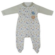 Baby Boy Clothes by Rumble Tumble - Cute Baby Boy Footed Coverall In Safari Pattern with Olive Striped Sleeves and Two Safari Animal Patches.  Too Cute!  Available in Sizes 0/3, 3/6 and 6/9 Months