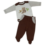 Great Baby Boy 2 Piece Pant Set with Extensive Embroidery and Applique Work Consisting of a Cowboy Boot, Hat and a Cactus on L/S Onesie;  Pull-On Footed Pants have Mock Fly and Pockets.  Adorable!  Available in Sizes 0/3, 3/6 and 6/9 Months.  See Matching Brother Outfit in Infant Boys.