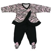 Baby Girl Clothes by Rumble Tumble - Cute Baby Girl 2 Piece Pant Set with Zebra Striped Wrap Top with Inside Snap, Black Ruffle Trim and Pink Rosette Snap Together with Footie Pant with Rosette and Zebra Print.  Adorable!  Available in Sizes 0/3, 3/6 and 6/9 Months
